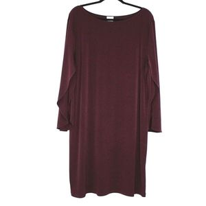 Chico's Long Sleeve Flowy Shift Dress Maroon Red